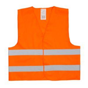 Pomarańczowa kamizelka odblaskowa certyfikowana dla dorosłych - przykład nadruku - przód