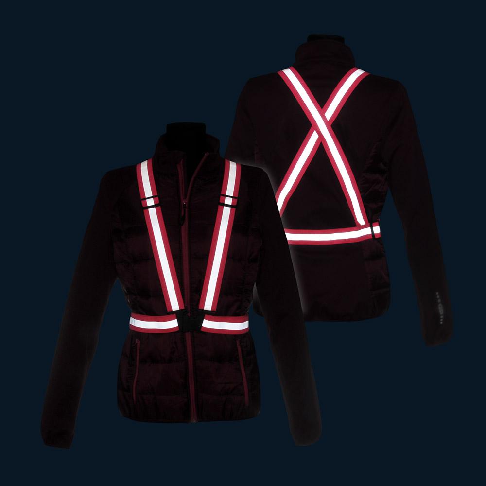 Różowe szelki odblaskowe X-BELT 3M - w nocy