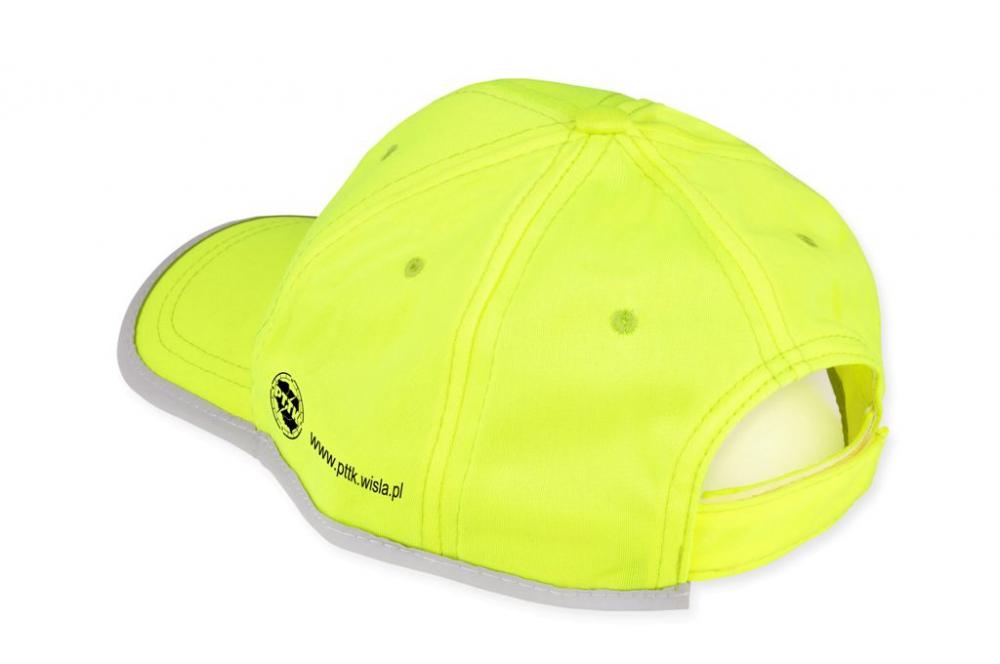 Żółta czapka odblaskowa dla dzieci - przykład nadruku