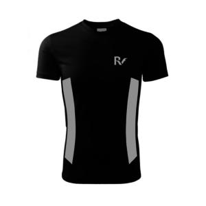 Czarna koszulka odblaskowa męska - RUN - przód