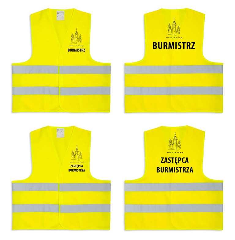Żółte kamizelki odblaskowe certyfikowane dla dorosłych - przykłady nadruku