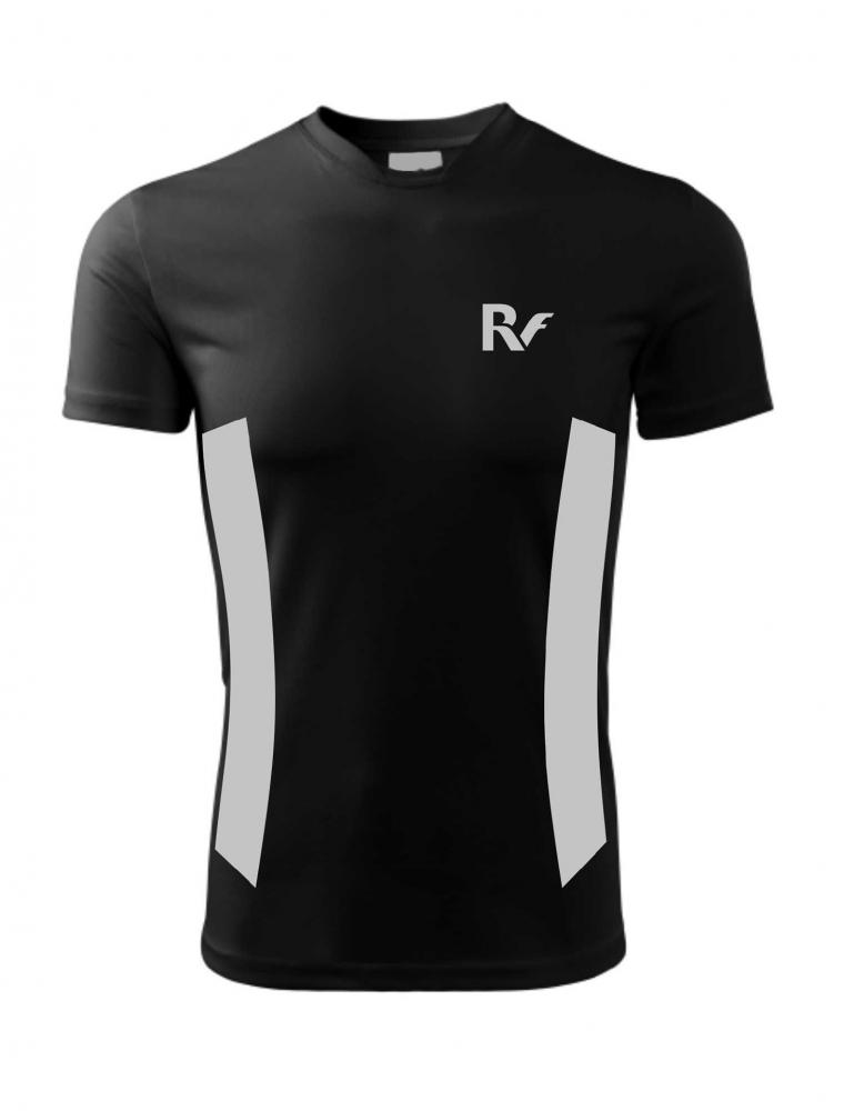 Czarny t-shirt odblaskowy męski - RUN - przód