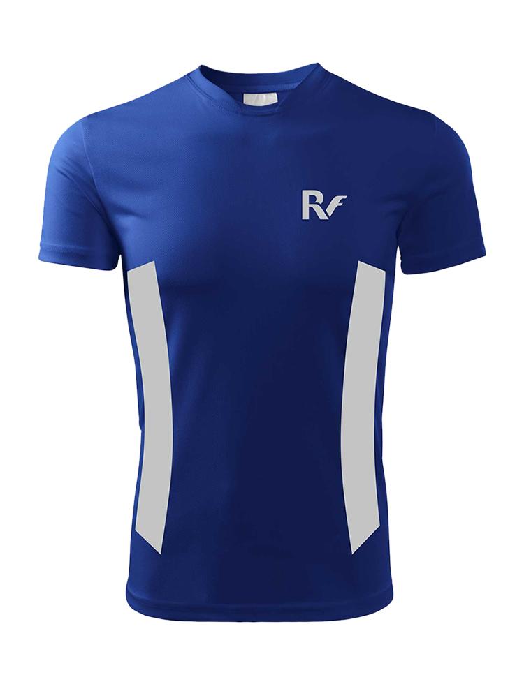 Niebieski t-shirt odblaskowy męski - RUN - przód