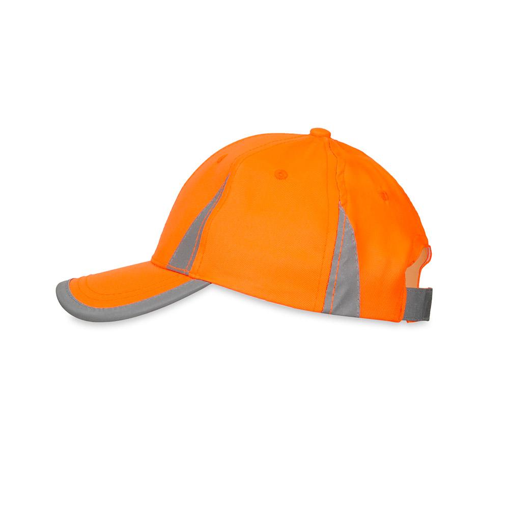 Pomarańczowa czapka odblaskowa MIKI dla dzieci - bok