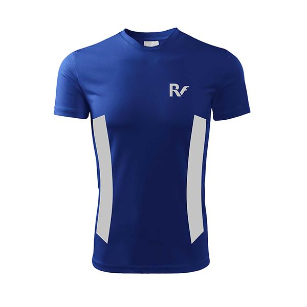 Niebieska koszulka odblaskowa męska - RUN - przód