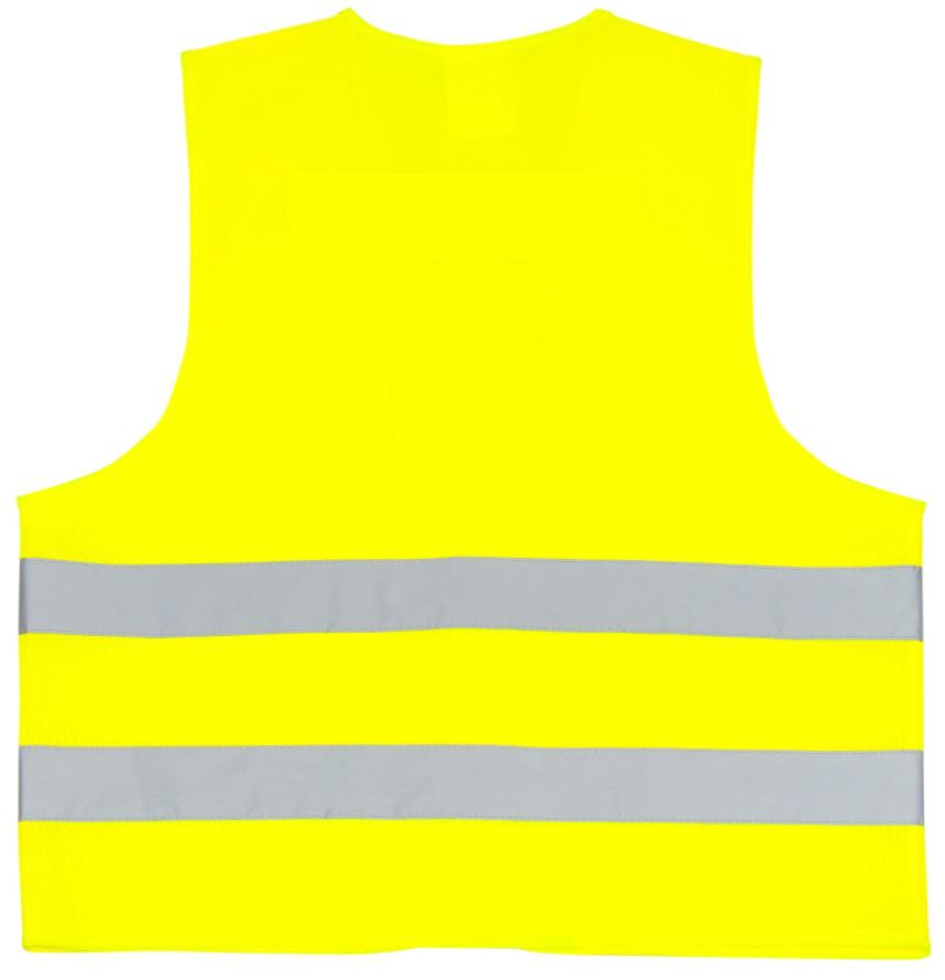 Żółta kamizelka odblaskowa certyfikowana dla dorosłych - tył
