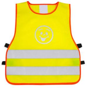 Żółta kamizelka odblaskowa dla dzieci UU203B2 z pomarańczową lamówką - przód