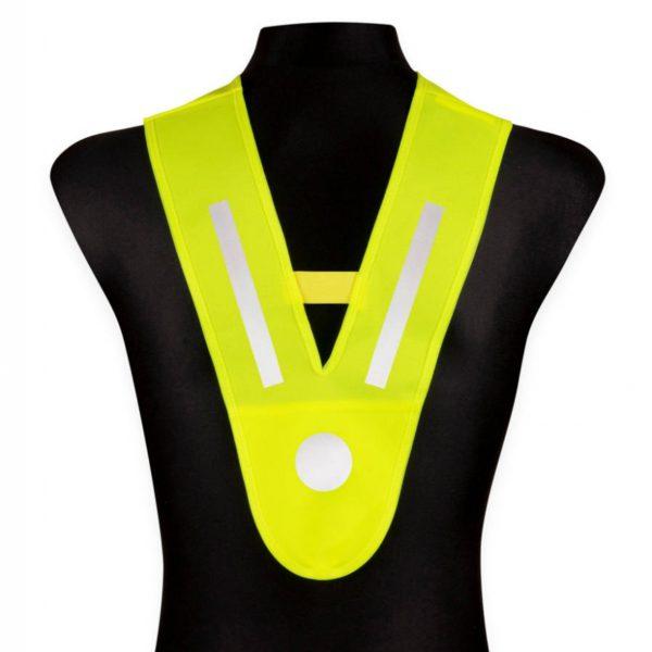 Szelka odblaskowa V-vest uniwersalna - żółta - na manekinie