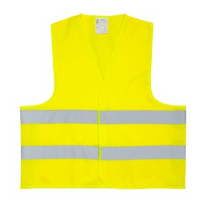 Żółta kamizelka odblaskowa certyfikowana dla dorosłych - przykład nadruku - przód