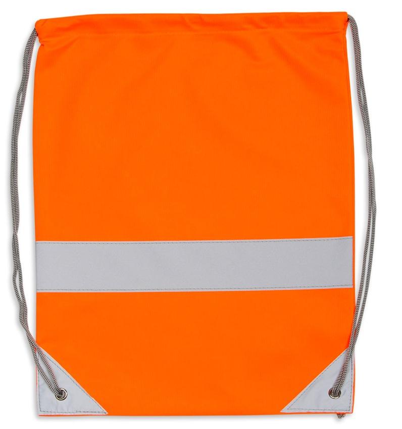 Pomarańczowy worek odblaskowy na plecy - przód
