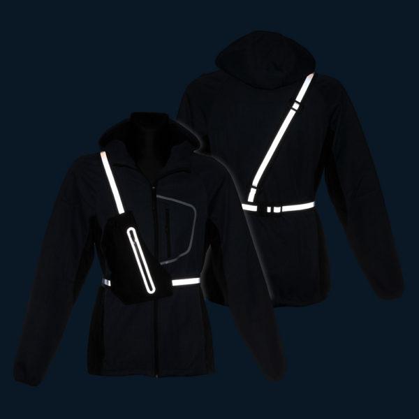 Czarne szelki odblaskowe z saszetką Sling Bag 3M - w nocy