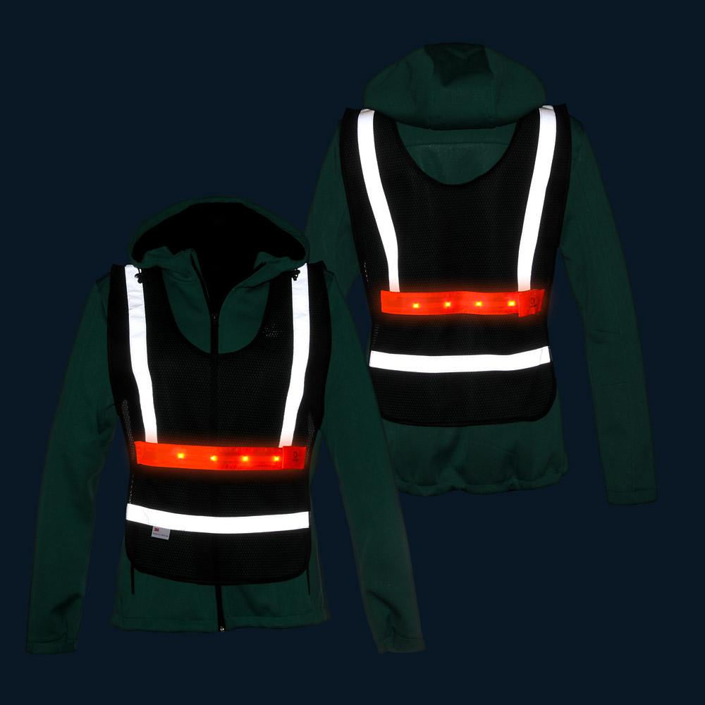 Czarne narzutki siatkowe LED 3M z regulacją dwustronną - w nocy