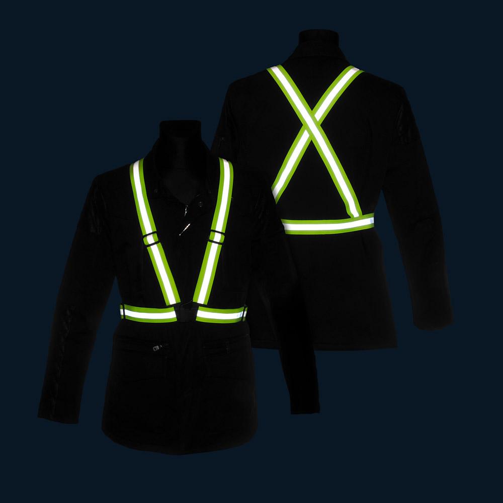 Żółte szelki odblaskowe X-BELT 3M - w nocy