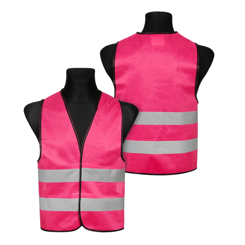 Kamizelki odblaskowe wizualizacyjne pod nadruk - różowe - na manekinach