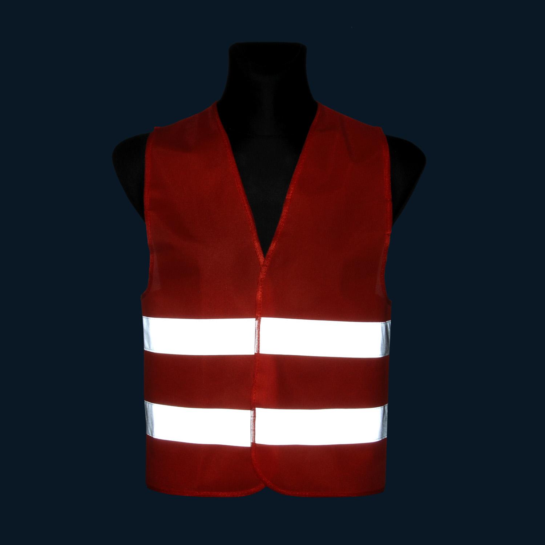 Kamizelka odblaskowa wizualizacyjna pod nadruk - czerwona - zdjęcie w nocy