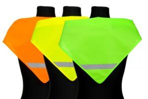 Chusty odblaskowe - na manekinach - różne kolory