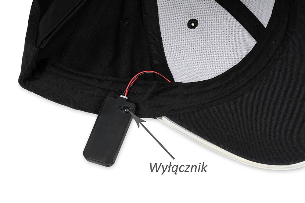 Czarna, bawełniana czapka z daszkiem LED - ściągacz