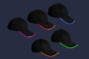 Czarne, bawełniane czapki z daszkiem LED - w nocy - różne kolory