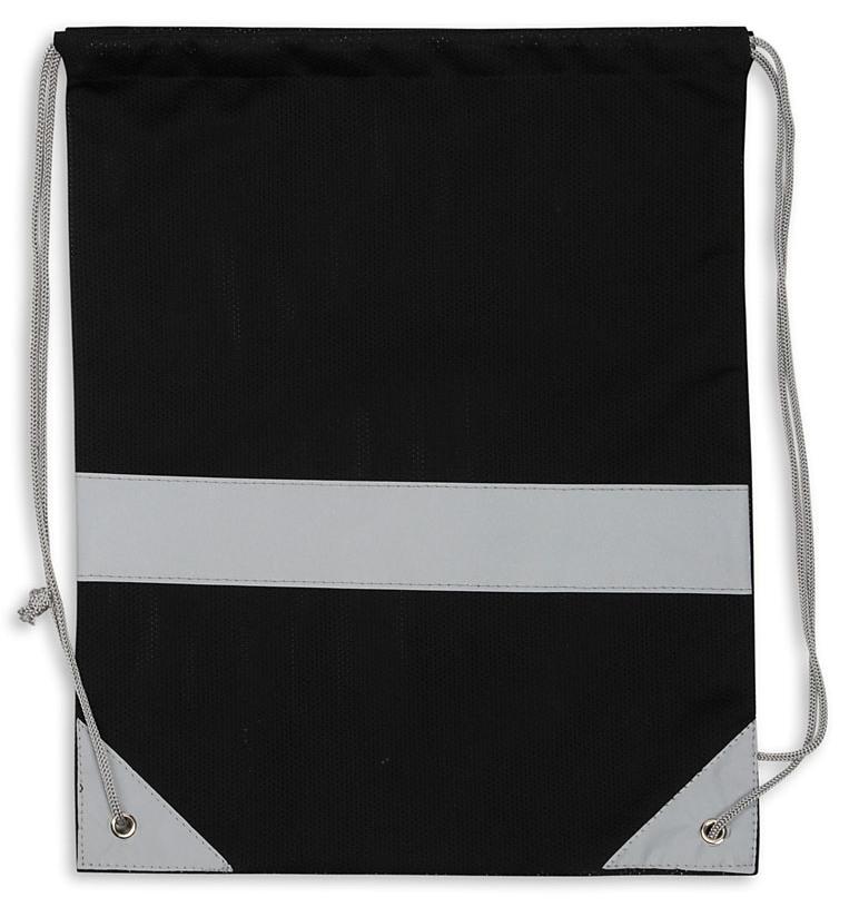 Czarny worek odblaskowy - Premium - przód