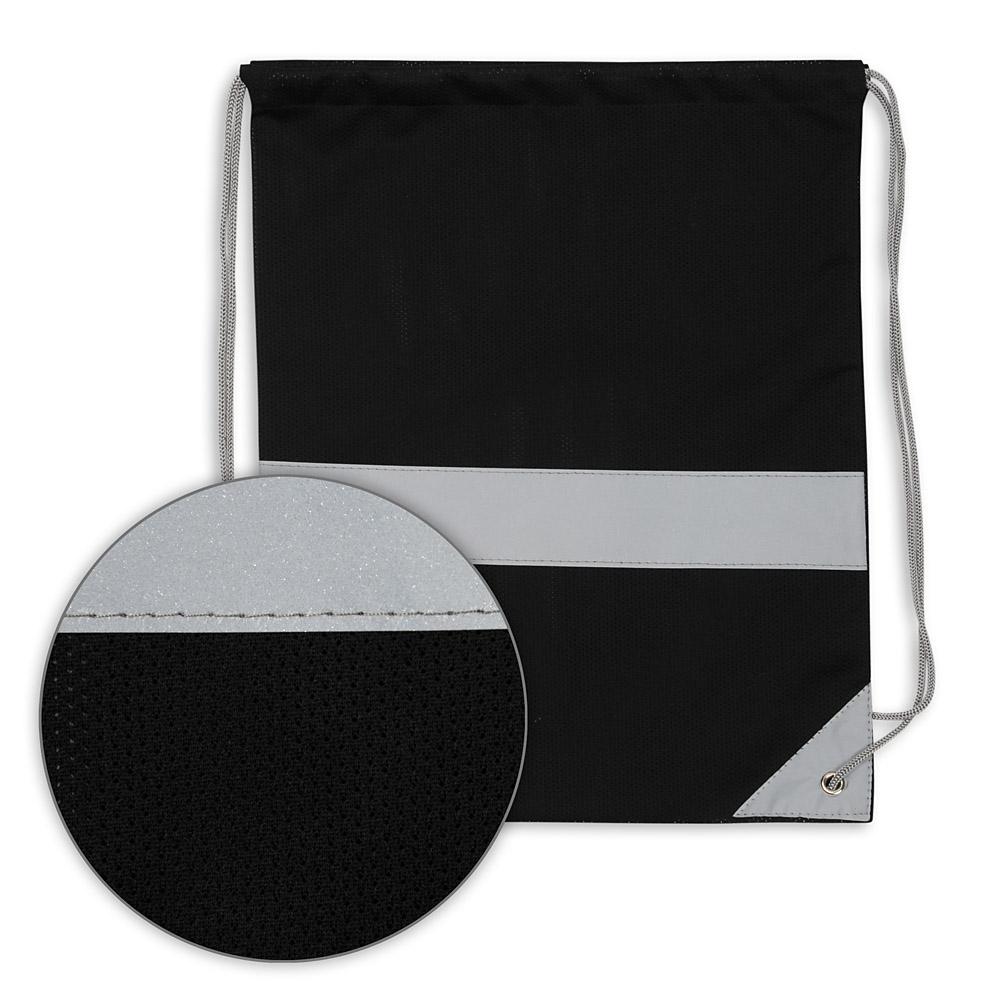 Czarny worek odblaskowy na plecy - Premium - przód