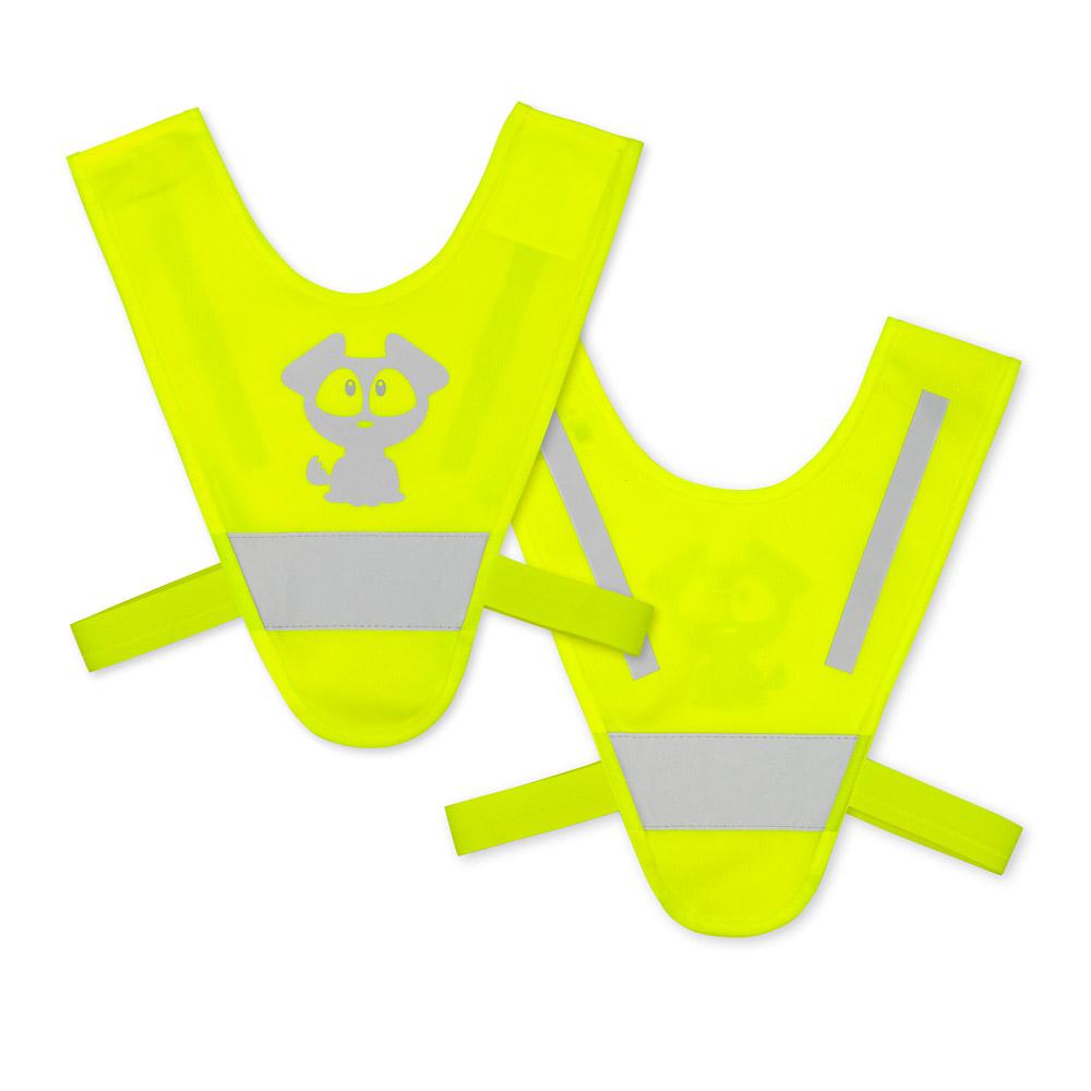Żółte mini-szelki odblaskowe dla dzieci 2-5 lat - przykład nadruku