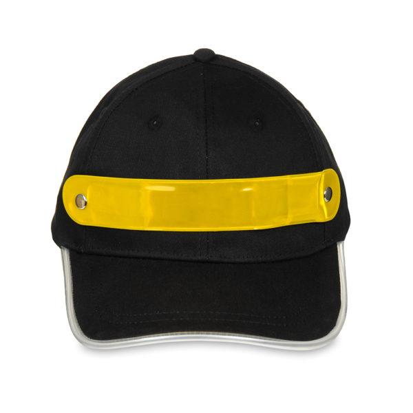 Czapka baseballówka z żółtym LED wokół daszka - przód
