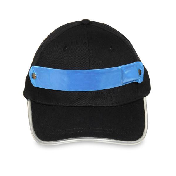 Czapka baseballówka z niebieskim LED wokół daszka - przód