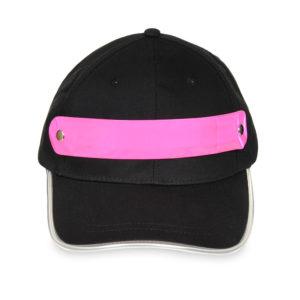 Czapka baseballówka z różowym LED wokół daszka - przód