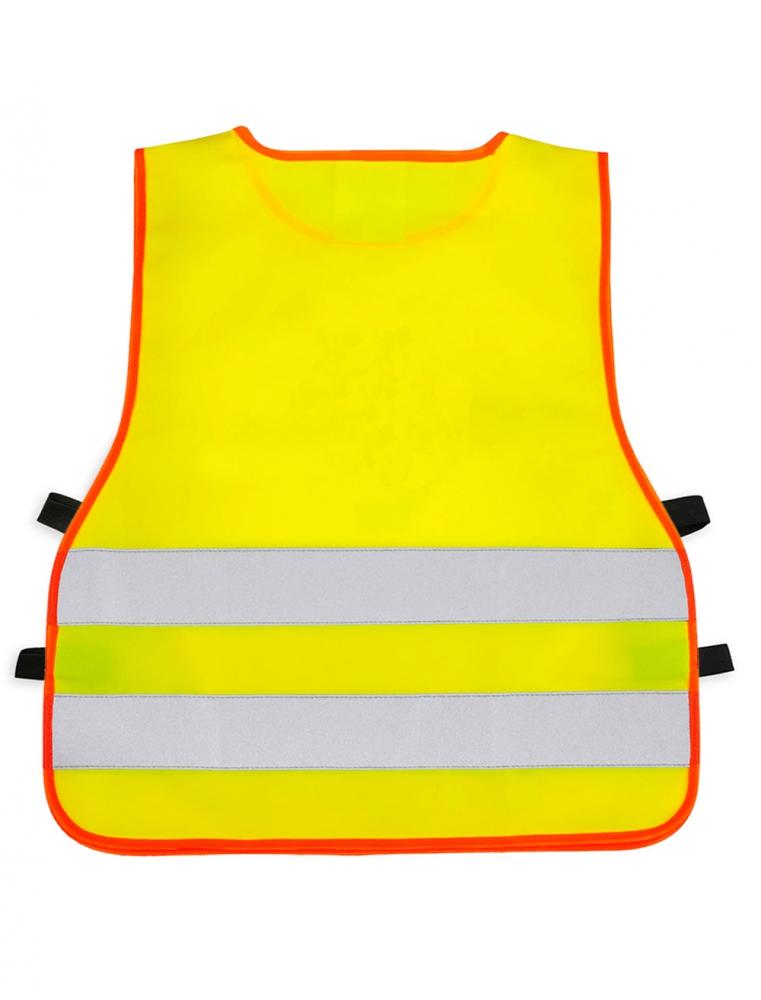 Żółta kamizelka odblaskowa dla dzieci UU203B2 z pomarańczową lamówką - tył