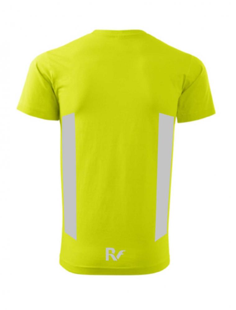 Żółty t-shirt odblaskowy męski - RUN - tył