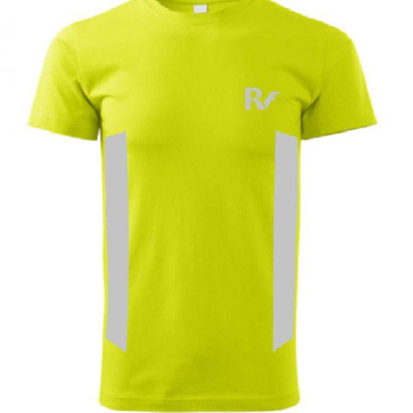 Żółty t-shirt odblaskowy męski - RUN - przód