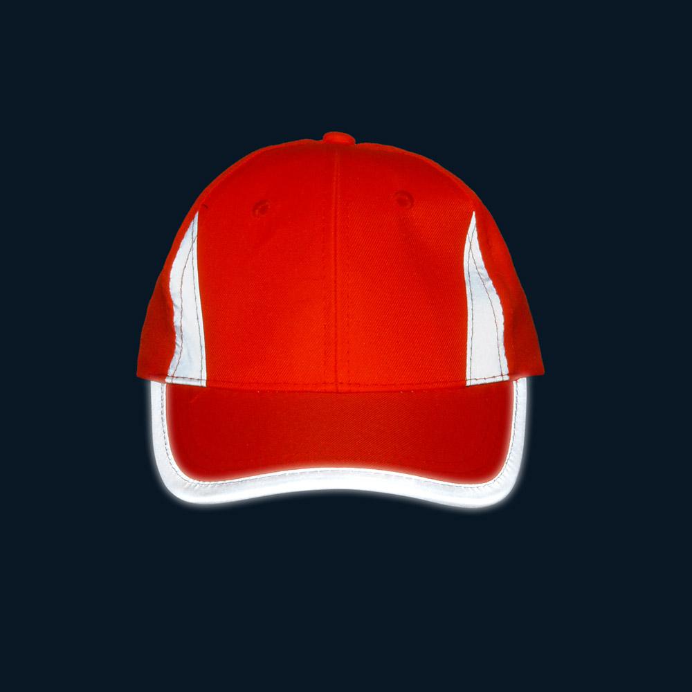 Pomarańczowa czapka odblaskowa MIKI dla dzieci - w nocy - przód