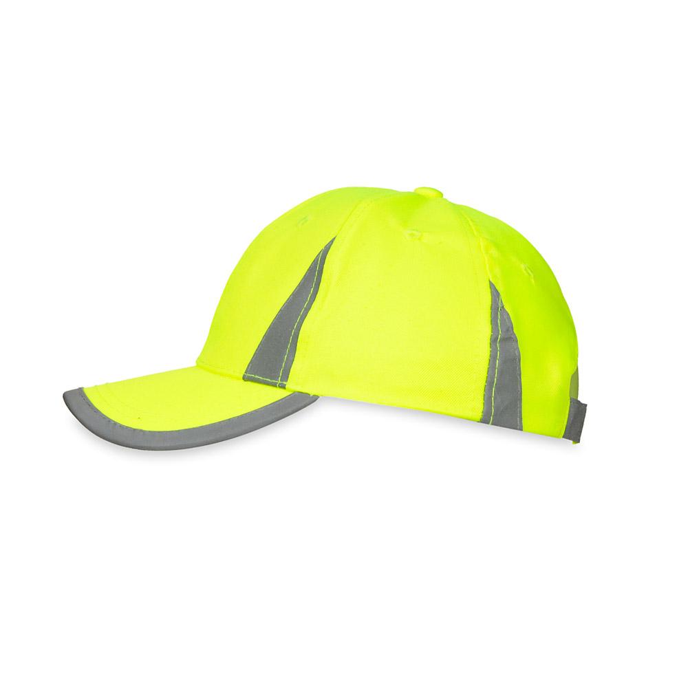 Żółta czapka odblaskowa MIKI dla dzieci - bok