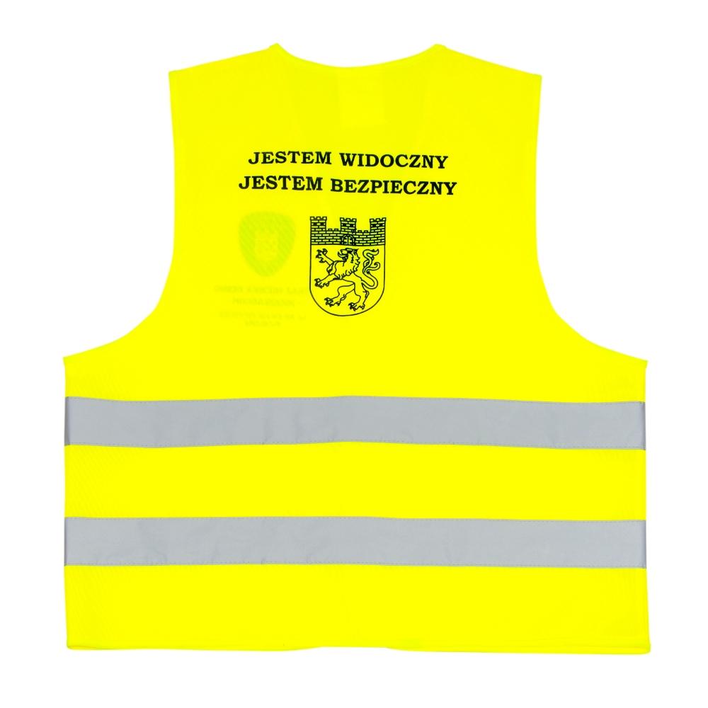 Żółta kamizelka odblaskowa certyfikowana dla dorosłych - przykład nadruku - tył