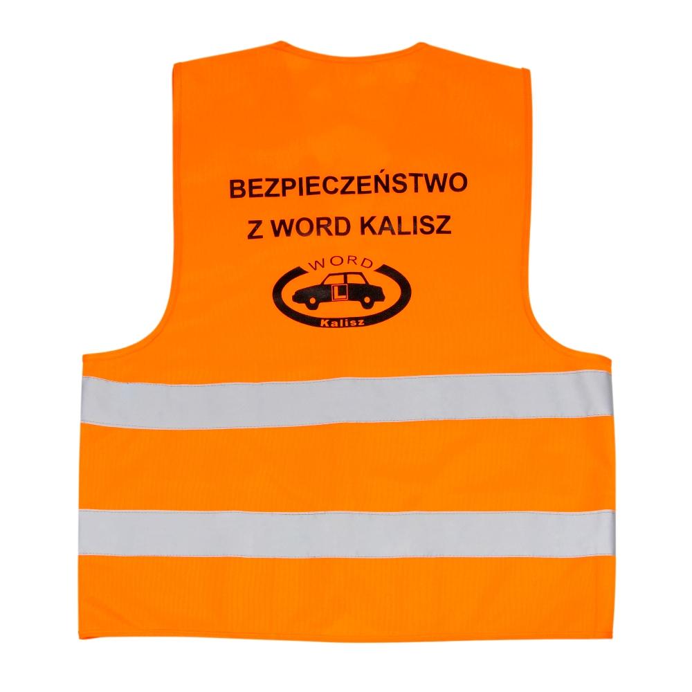 Pomarańczowa kamizelka odblaskowa certyfikowana dla dorosłych - przykład nadruku - tył