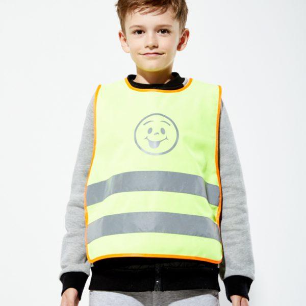 Żółta kamizelka odblaskowa dla dzieci UU203B2 z pomarańczową lamówką - zdjęcie sesja