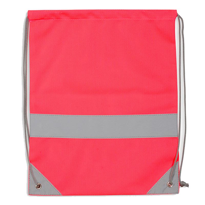 Różowy worek odblaskowy na plecy - Premium - przód