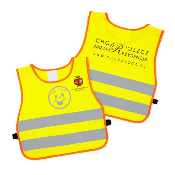 Żółte kamizelki odblaskowe dla dzieci UU203B2 z pomarańczową lamówką - przykład nadruku