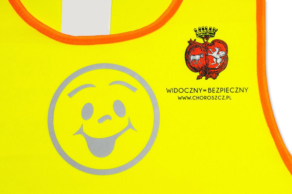 Żółta kamizelka odblaskowa dla dzieci UU203B2 z pomarańczową lamówką - przykład nadruku