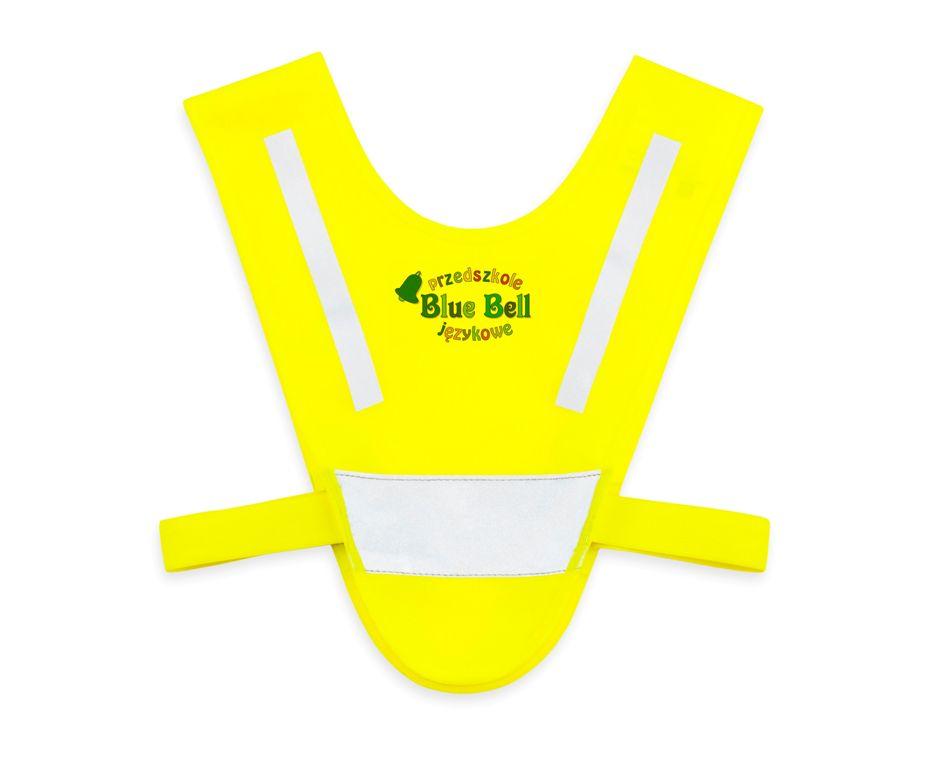 Żółta mini-szelka odblaskowa dla dzieci 2-5 lat - przykład nadruku