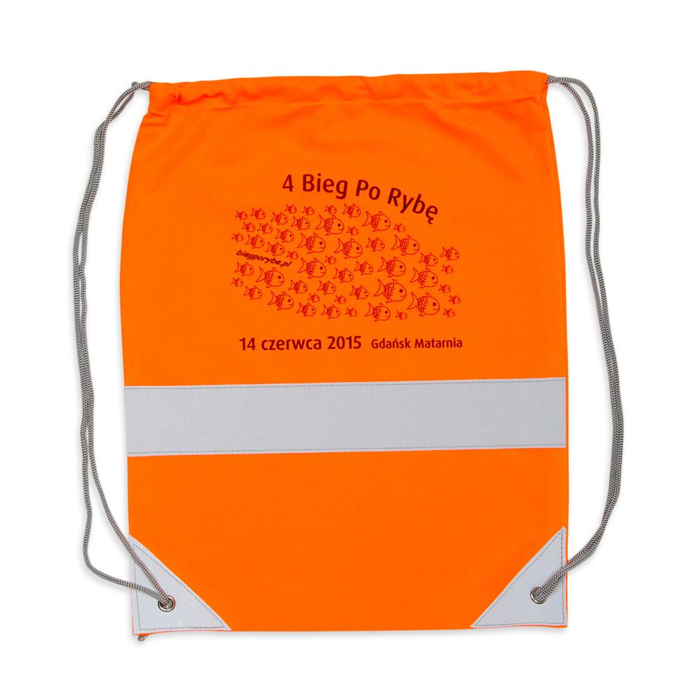 Pomarańczowy worek odblaskowy na plecy - przykład nadruku
