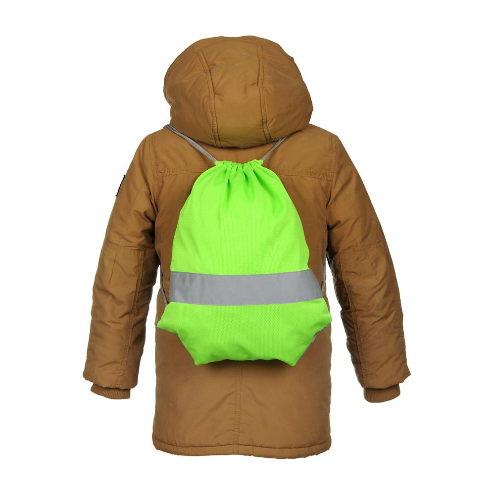 Zielony worek odblaskowy na plecy - Premium - na manekinie