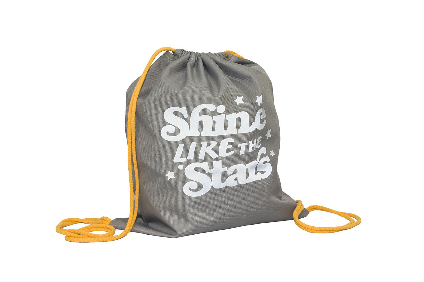 Szary worek z odblaskowym nadrukiem SHINE LIKE THE STARS