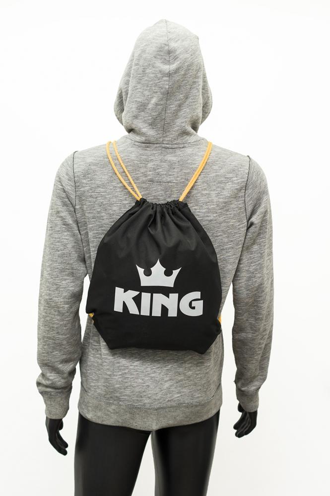 Czarny worek z odblaskowym nadrukiem KING