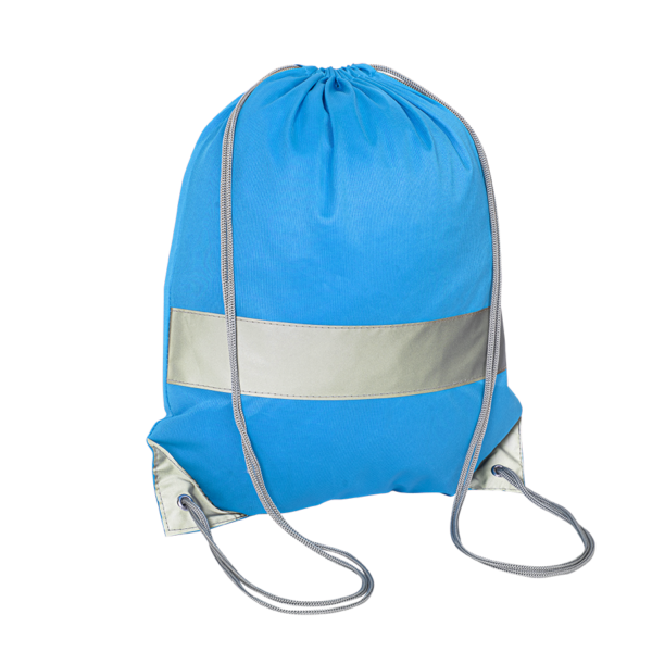 Niebieski worek odblaskowy na plecy - Premium - przód
