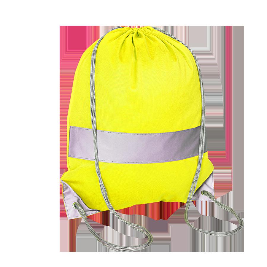 Żółty worek odblaskowy na plecy - Premium - przód
